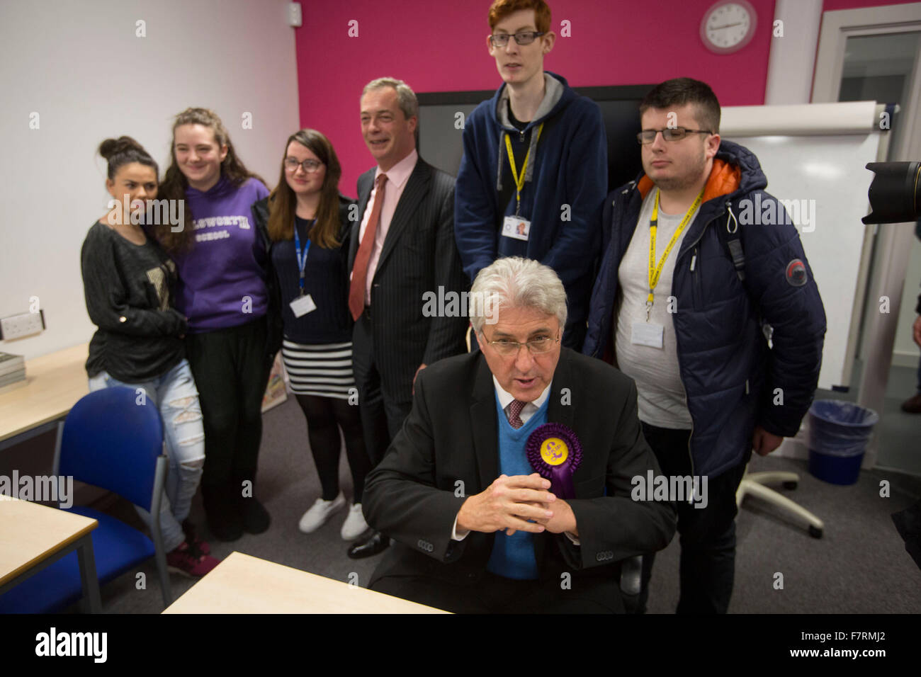 Nigel Farage, leader of UKIP, the UK Independence Party, pictured on a visit to Oldham College, where he toured - Stock Image