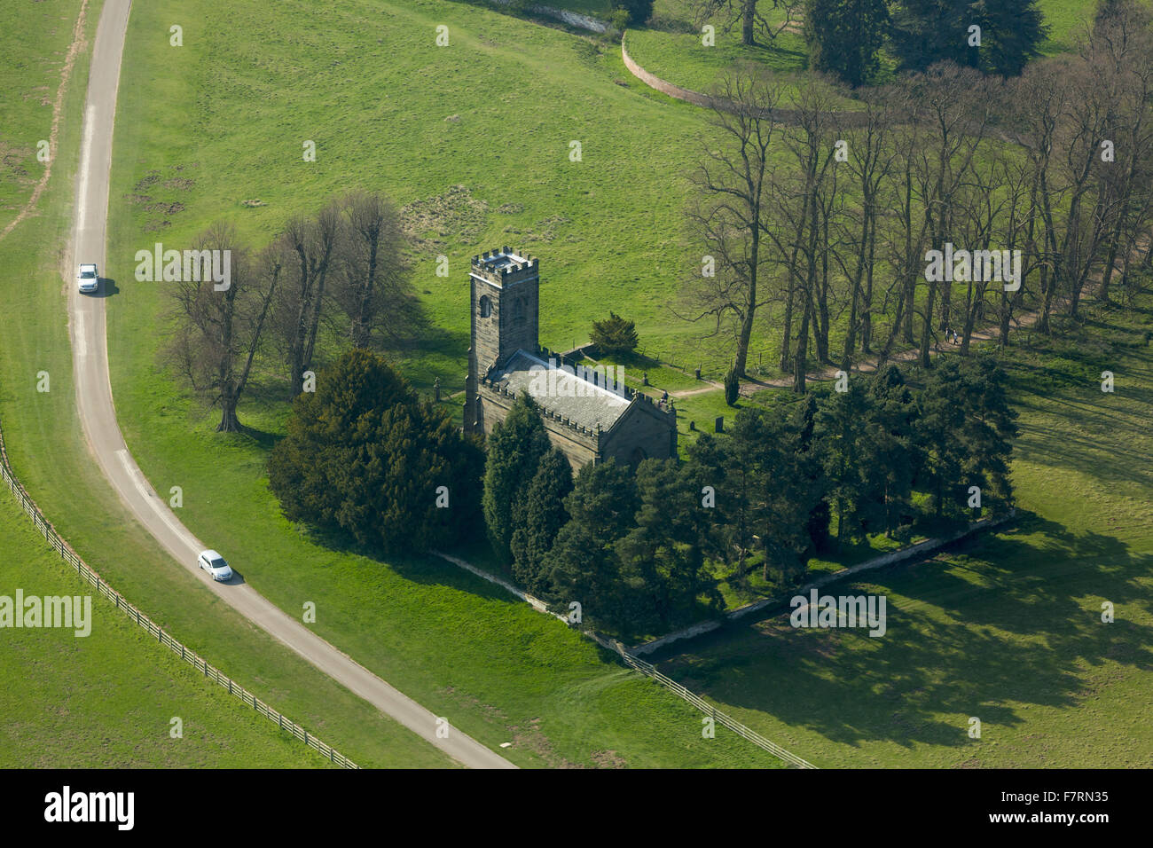 An aerial view of Staunton Harold Church, Leicestershire. Staunton Harold is one of the few churches built between - Stock Image
