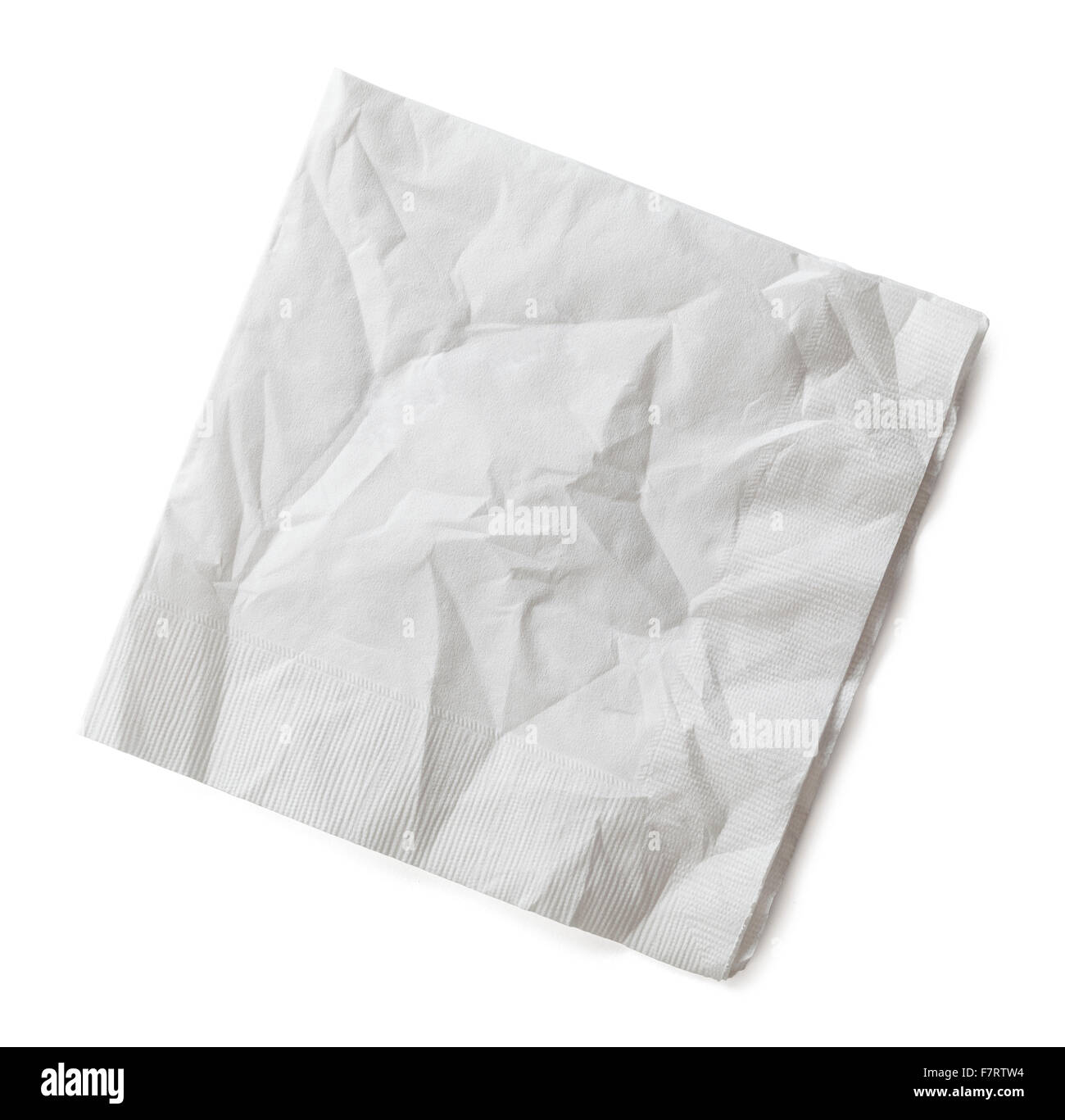 Wrinkled Cocktail Napkin Isolated on White Background. - Stock Image