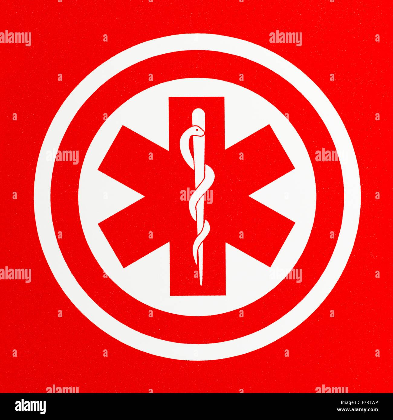Red Health Care Caduceus Symbol in Circle. - Stock Image