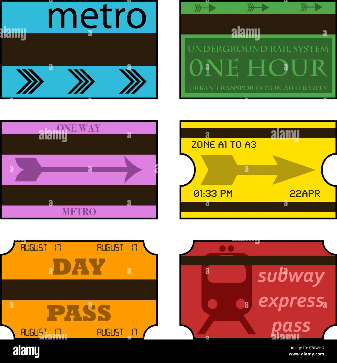 Vintage subway tickets Stock Vector