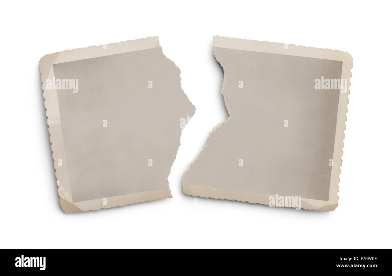 Old Torn Photo with Copy Space Isolated on White Background. - Stock Image