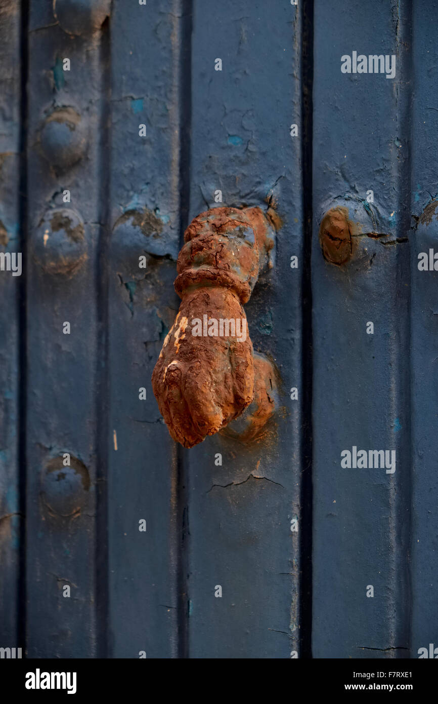 A door knocker in the shape of the hands of Fatima in Marrakech - Stock Image