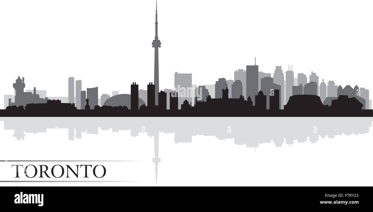Toronto city skyline silhouette background - Stock Vector
