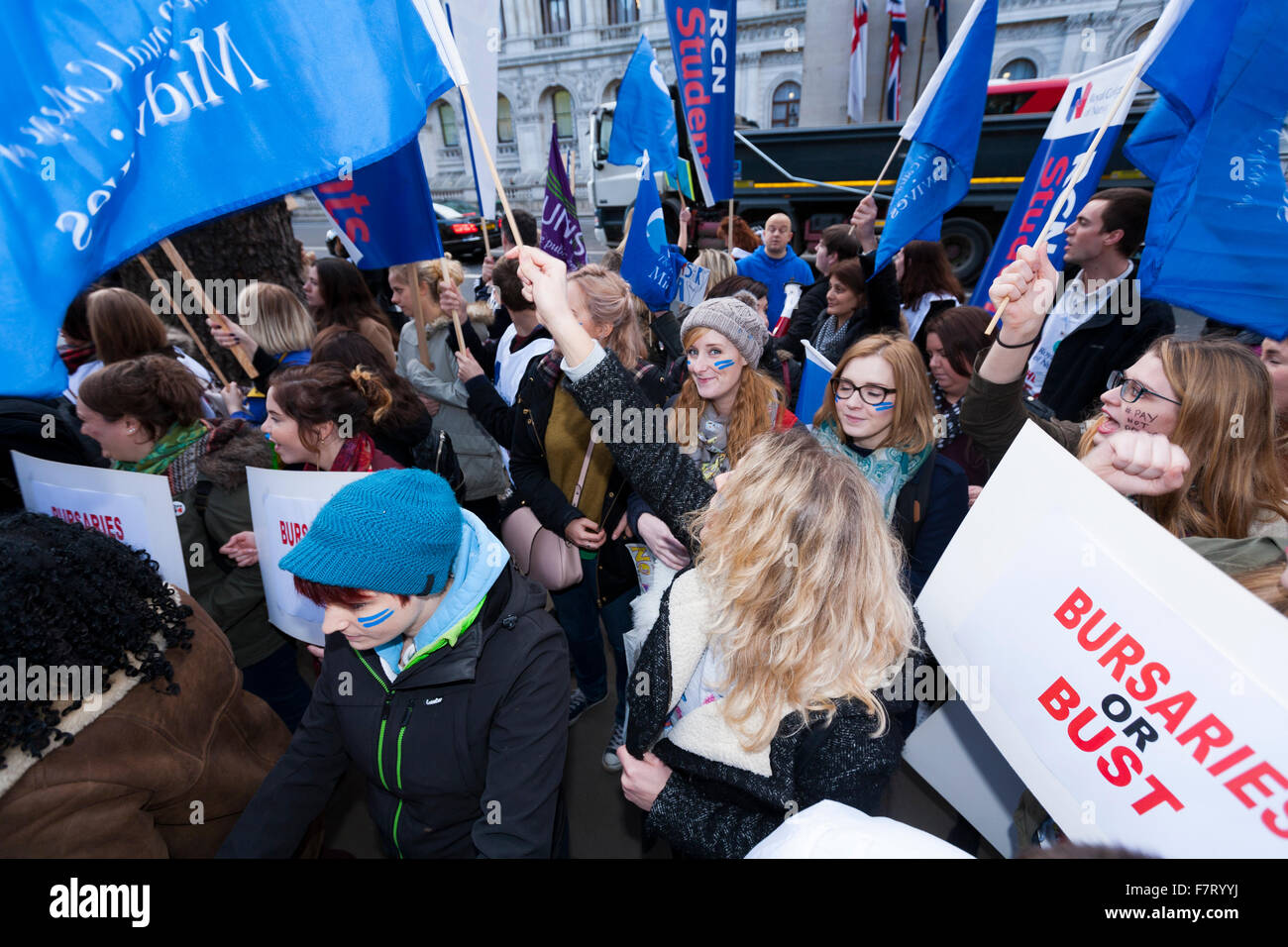 London, UK. 02nd Dec, 2015. 'Bursary or Bust' protest by student health workers: London, on December 2, - Stock Image