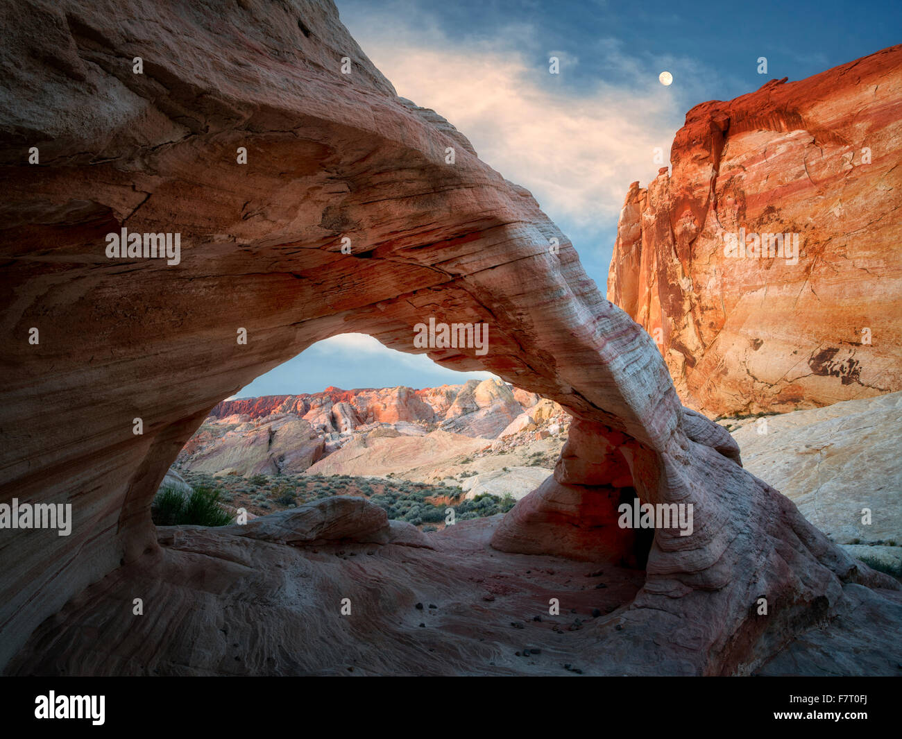 White Arch with moon. Valley of Fire State Park, Nevada - Stock Image