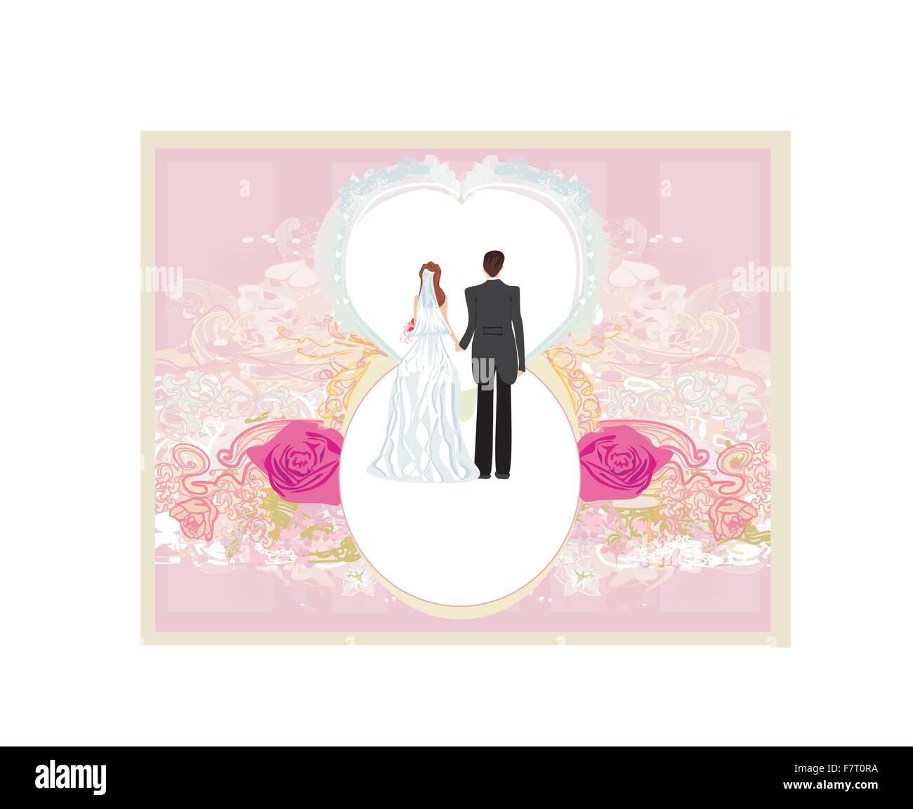 wedding invitation card with a cute couple Stock Vector Art ...