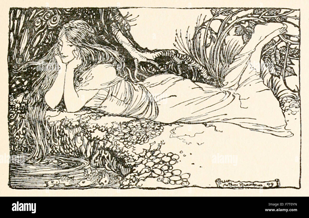 Undine gazing in to the water, from 'Undine' illustrated by Arthur Rackham (1867-1939). See description for more - Stock Image
