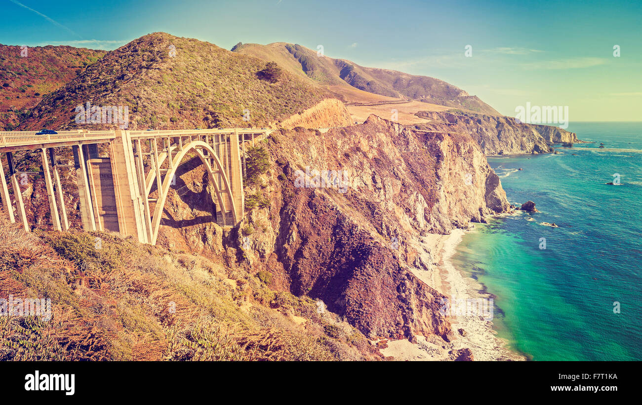 Vintage toned picture of a coastline along Pacific Coast Highway, USA. - Stock Image