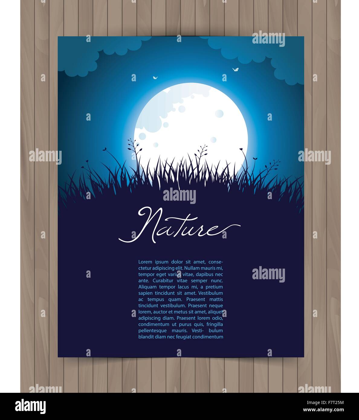 Nature card with grass - Stock Vector