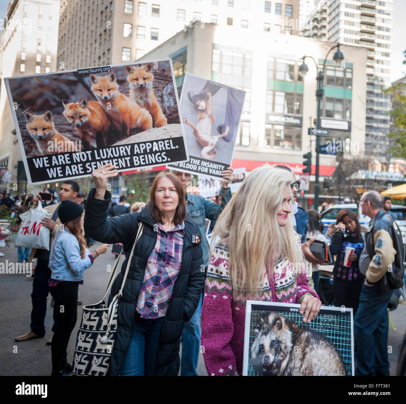 Animal rights activists protest the sale of fur on Black Friday, traditionally known as Fur Free Friday, on Friday, Stock Photo