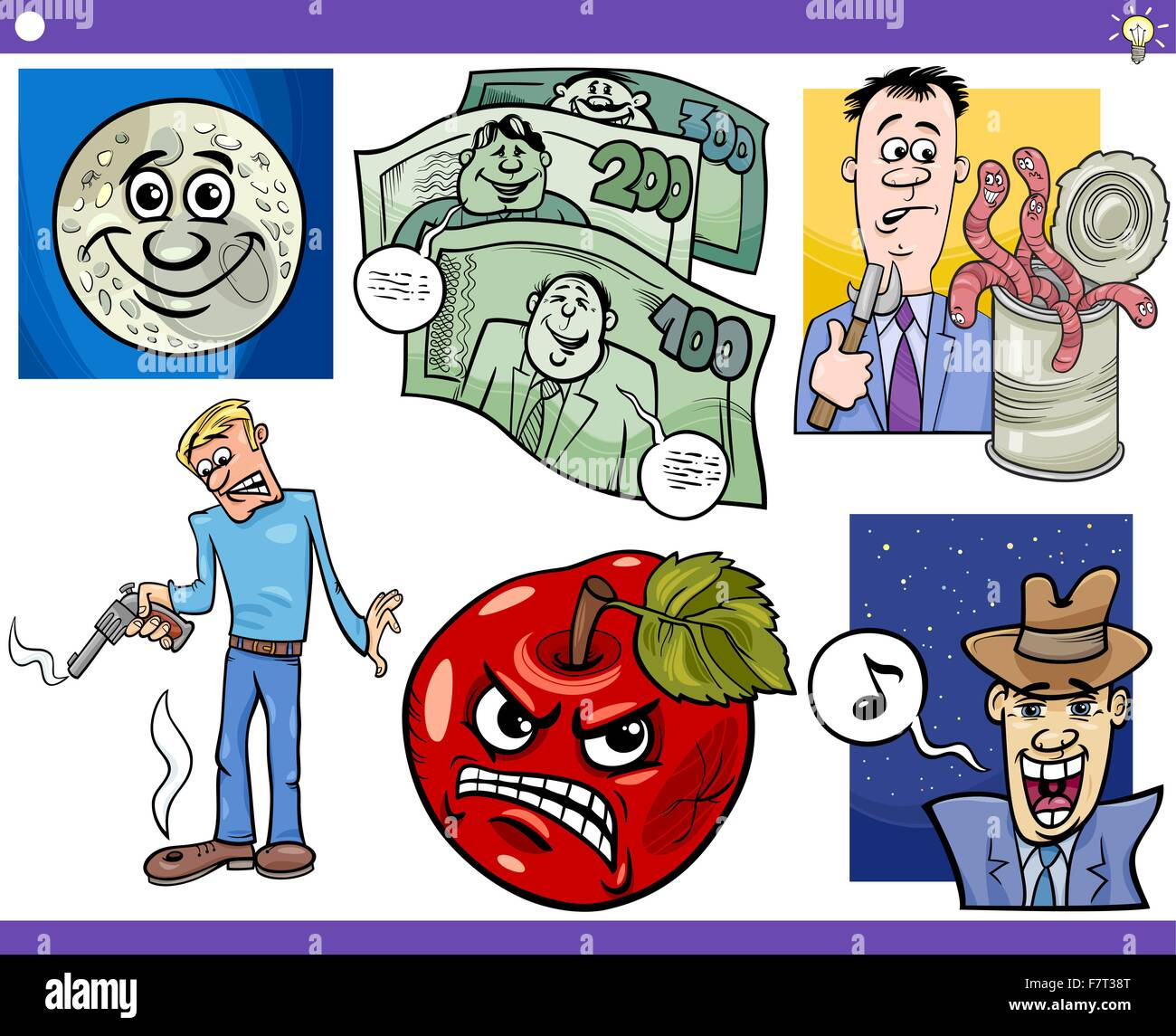 cartoon concepts and sayings set - Stock Vector