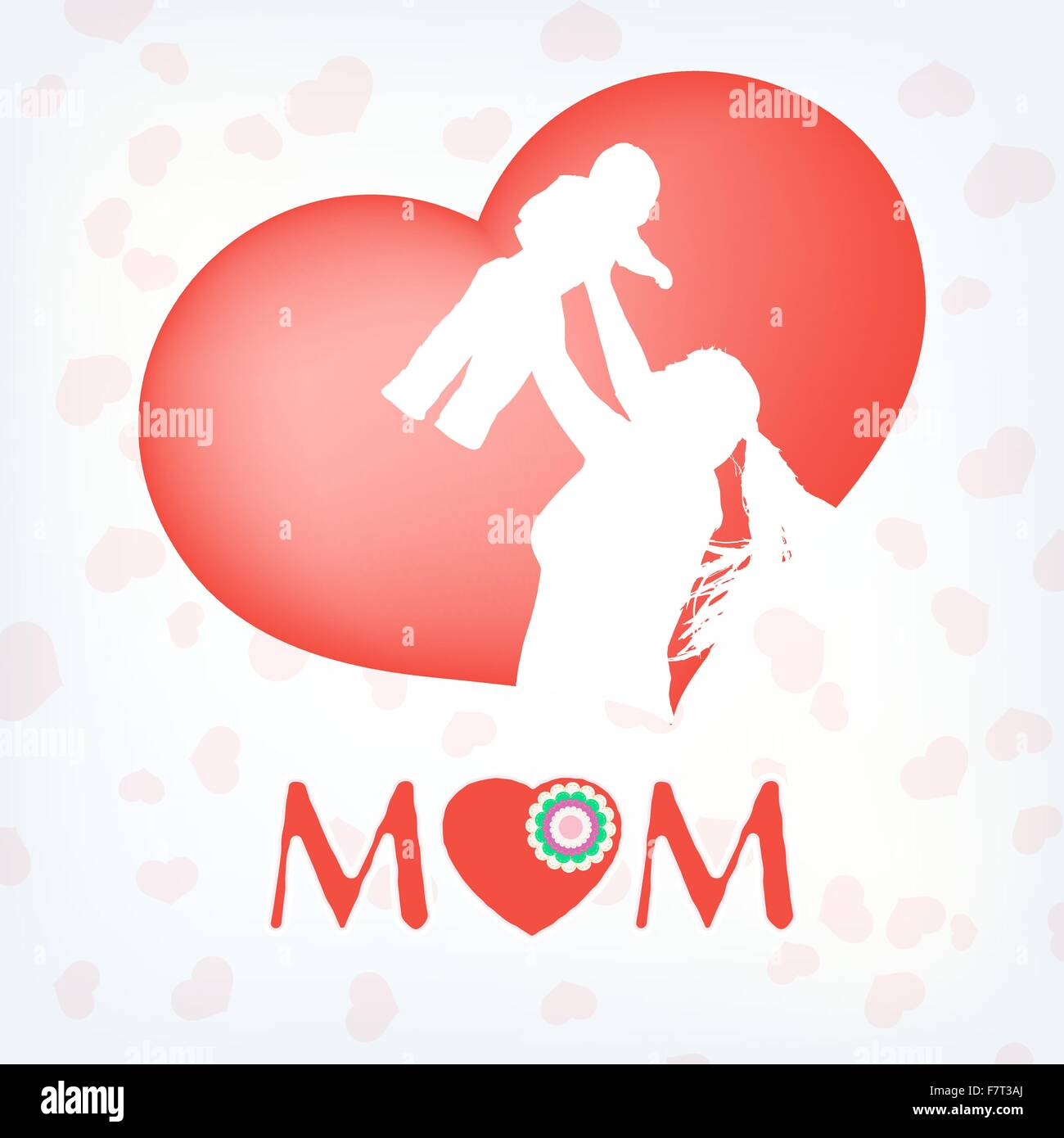 Silhouette of a mother and her child. EPS 10 - Stock Vector