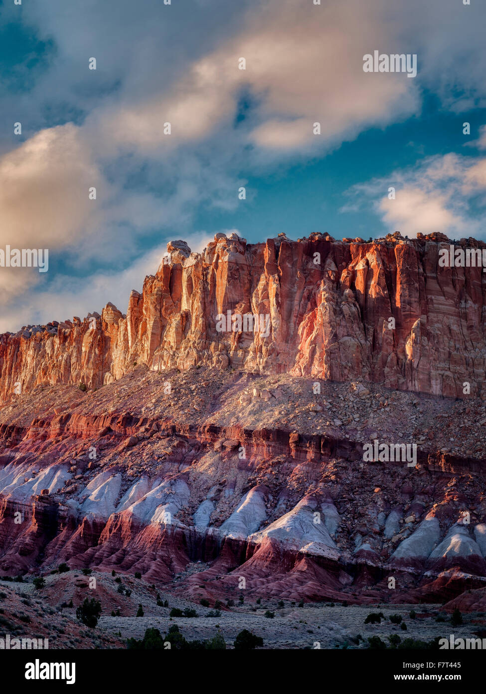 Rock formations at sunset. The Hartnet South Desert Waterpocket Fold, Capitol Reef National Park, Utah - Stock Image