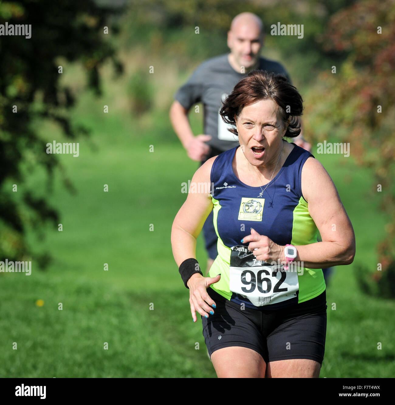 Pattingham Bells Run 2015 near the finish line of the 7 mile cross country run held in Pattingham, Codsall, Staffordshire, - Stock Image
