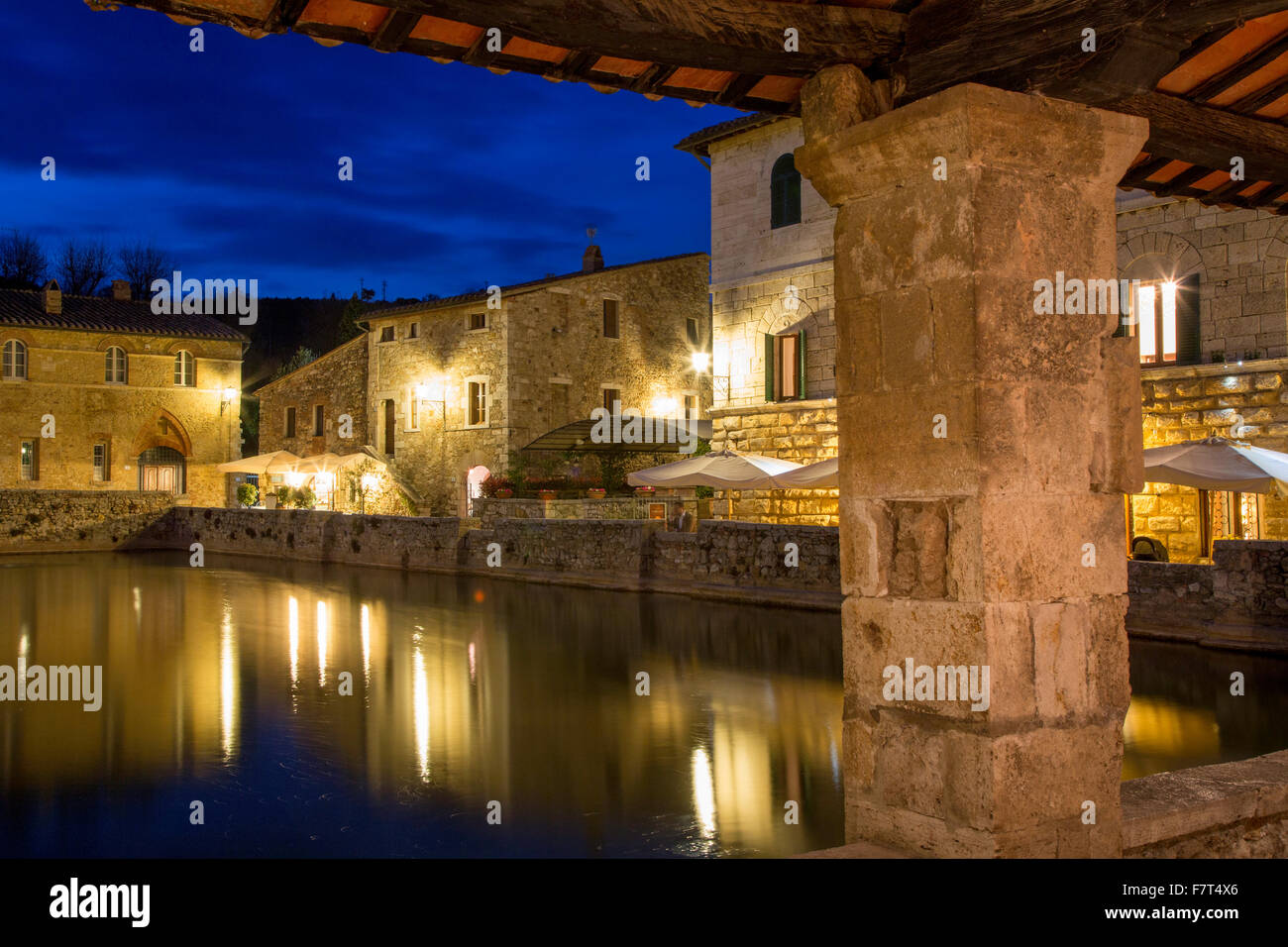 Thermal spa at Bagno Vignoni - attended by Popes, Saints and dignitaries since medeival times,  Tuscany, Italy - Stock Image