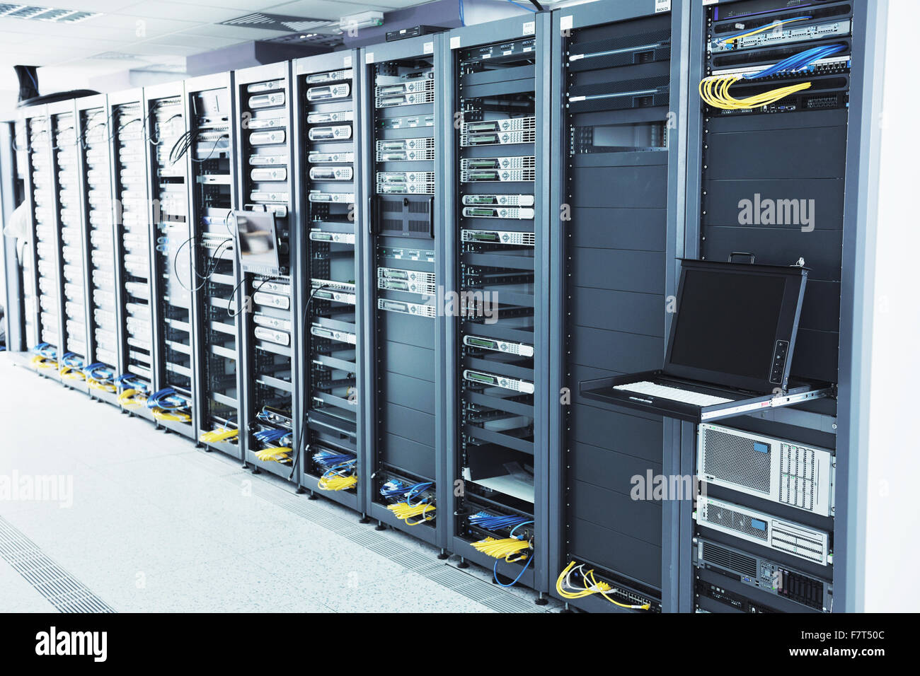 network server room with computers for digital tv ip communications