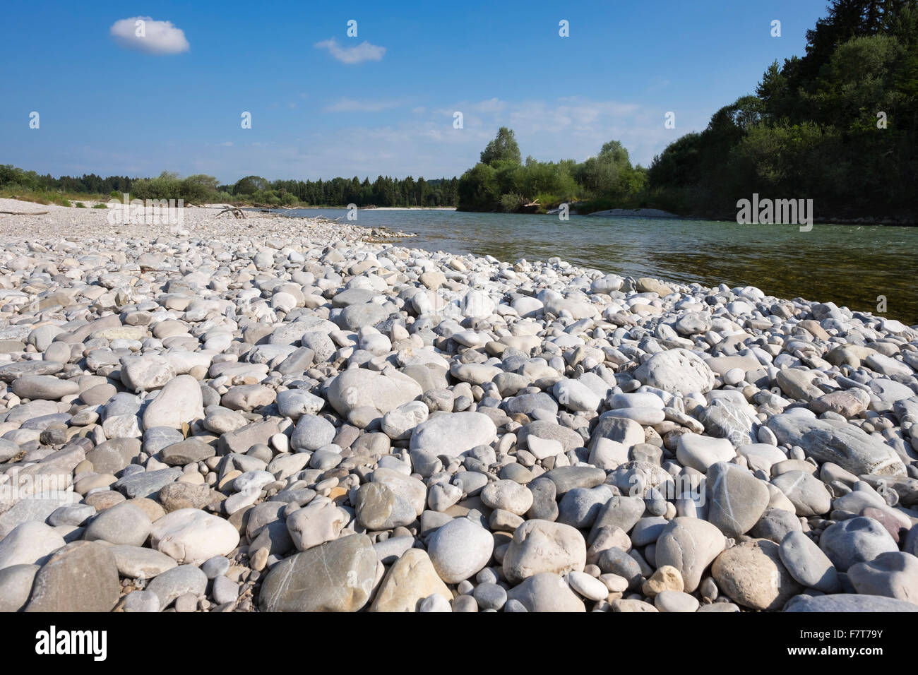 Pebble riverbank by the river Isar, nature reserve Isarauen at Geretsried, Upper Bavaria, Bavaria, Germany - Stock Image