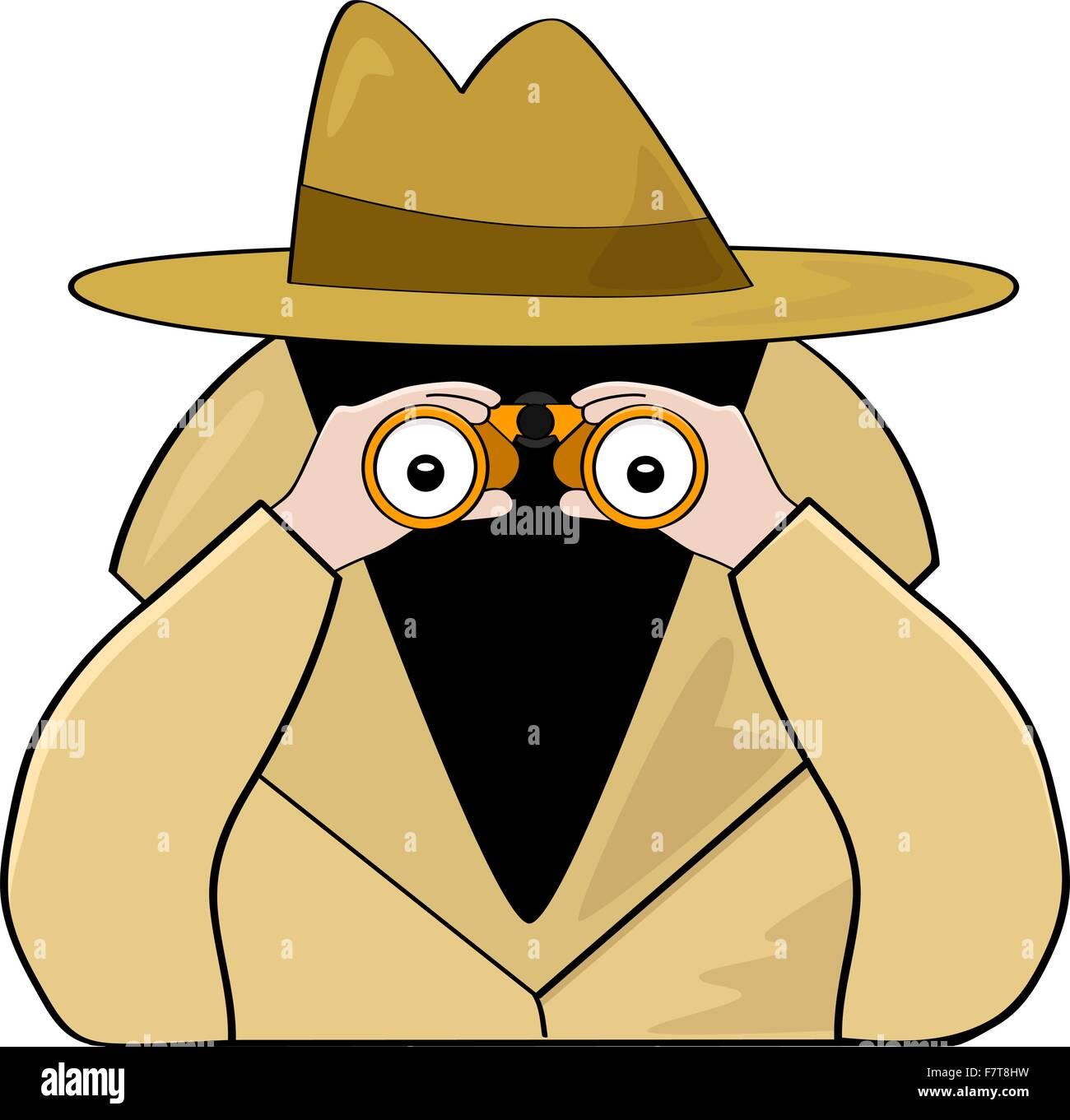 Binoculars spy - Stock Vector