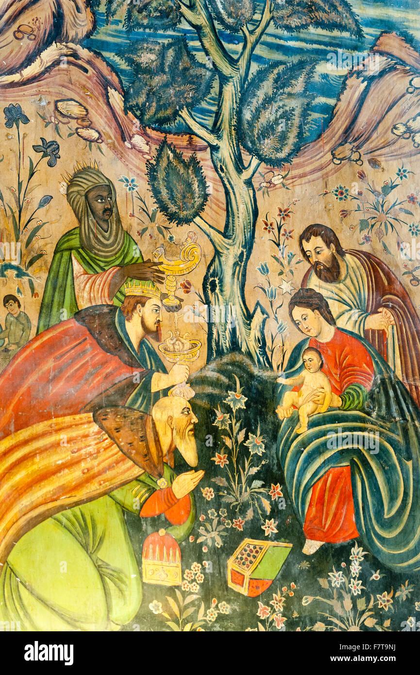 Armenian Apostolic Church, Mural, Adoration of the Magi, Jesus Christ, Mary and Joseph, the Three Wise Men give - Stock Image
