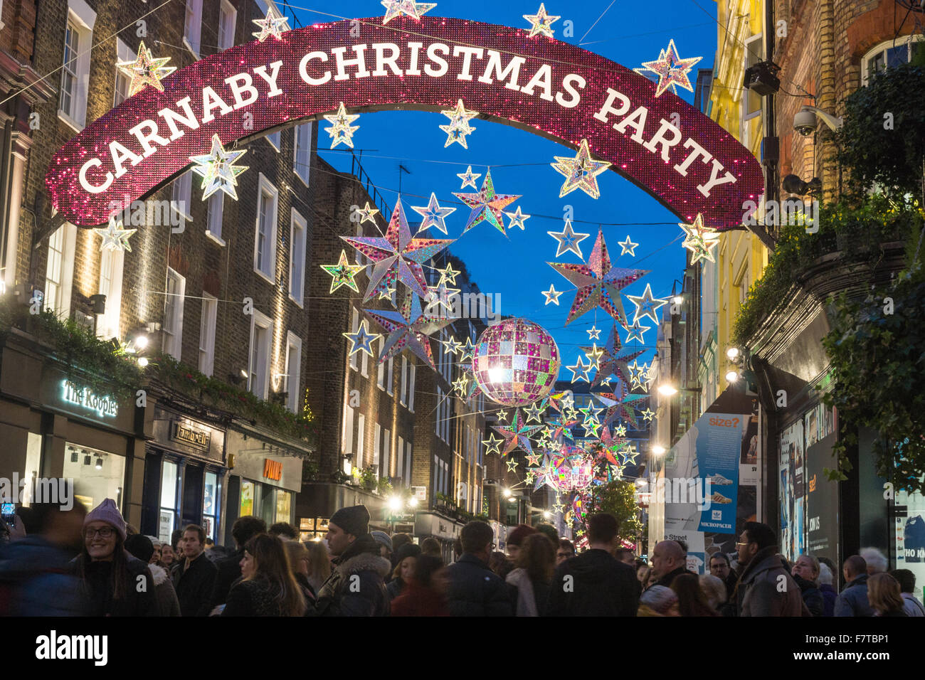 christmas decorations london carnaby street christmas london 2016 stock image - London Christmas Decorations