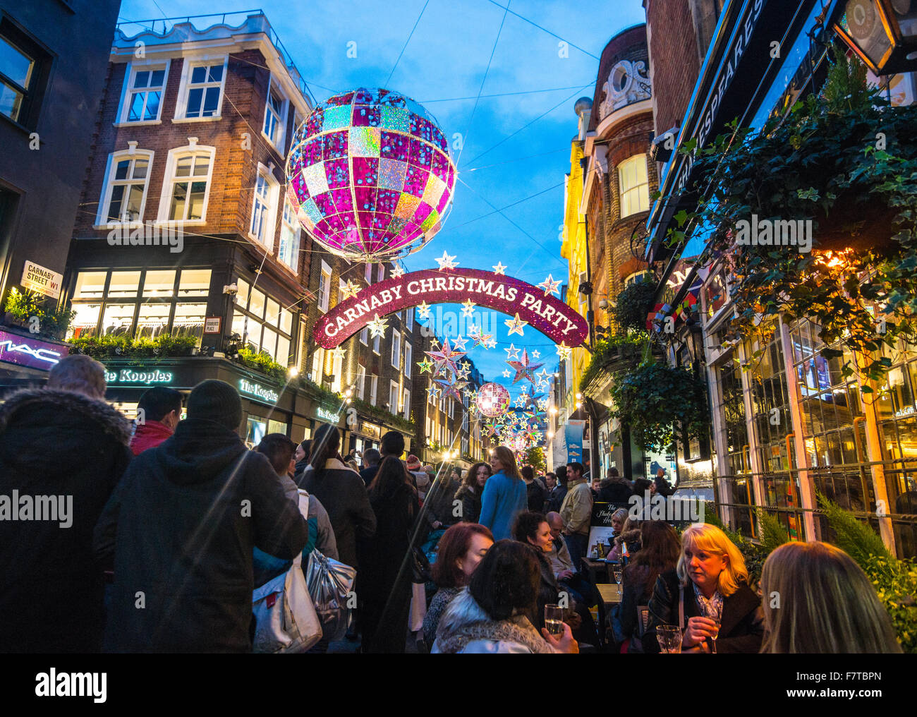 Christmas decorations London  Carnaby Street   Christmas London 2016 Stock Photo