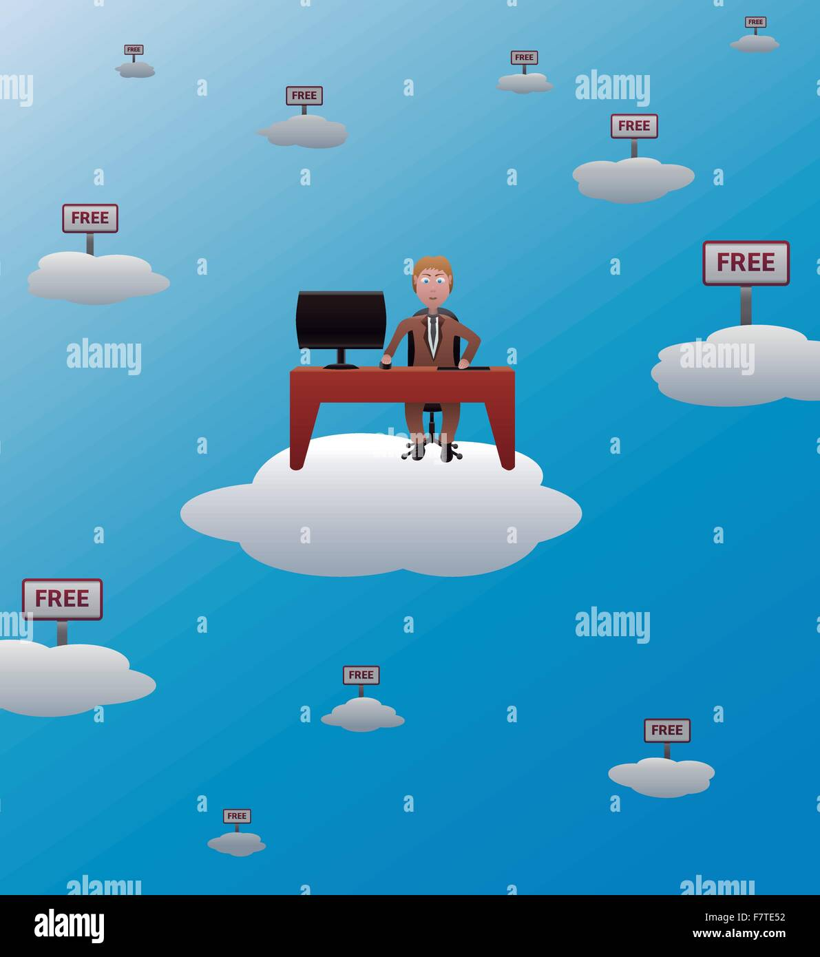 working in the cloud - Stock Image