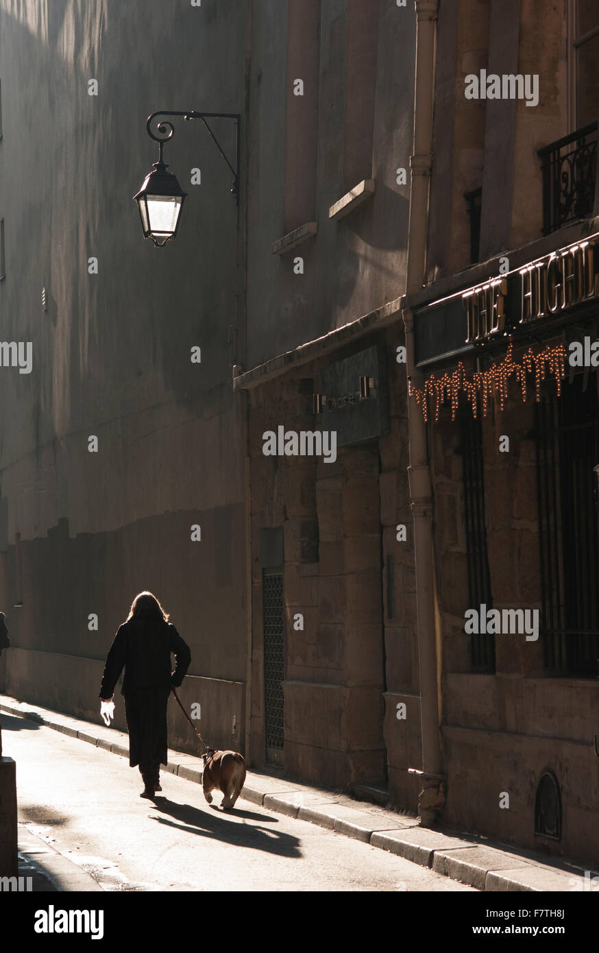 France, Paris, Woman walking dog down medieval street on the left bank - Stock Image