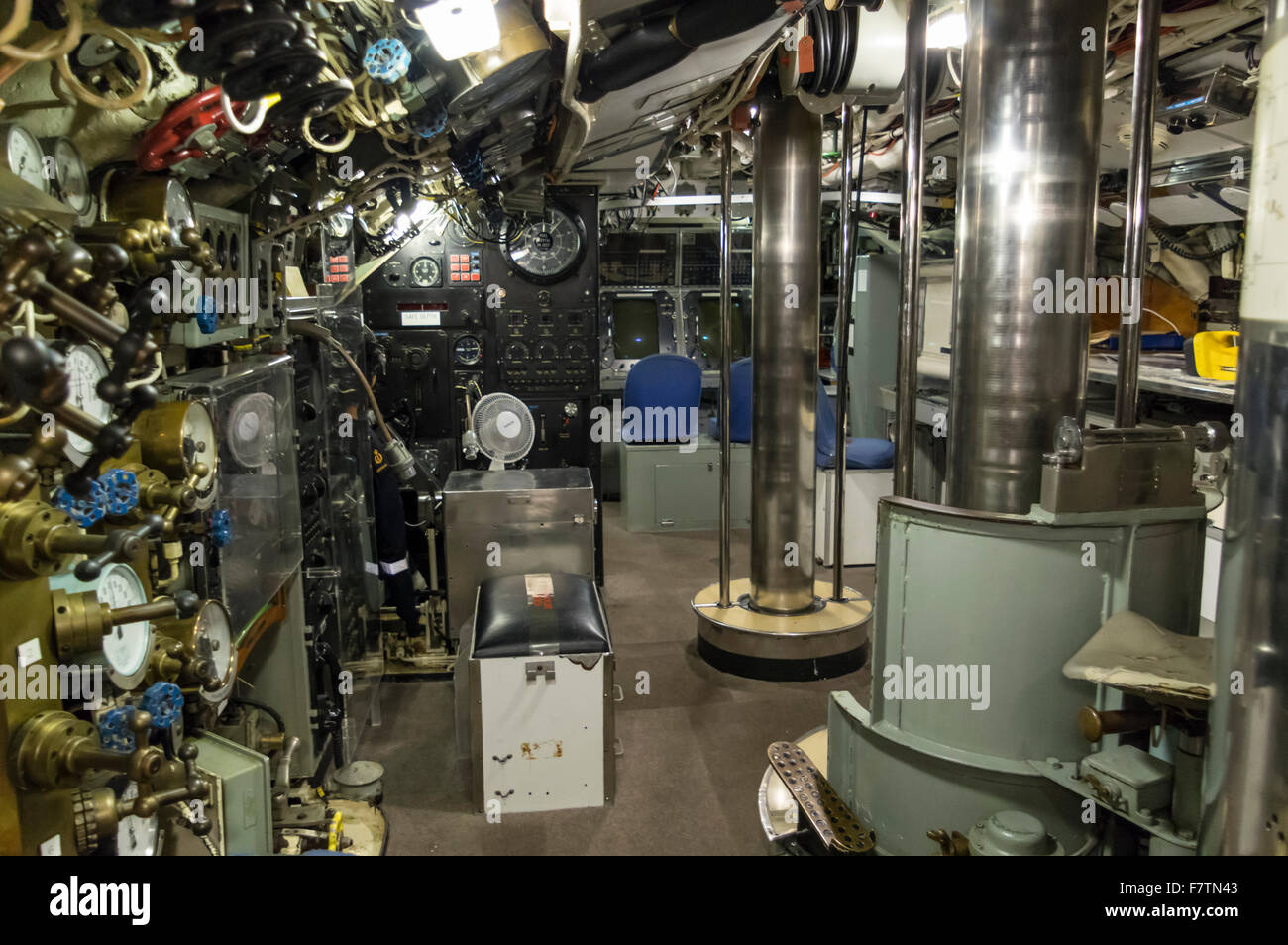 Interior of the Royal Australian Navy submarine HMAS Ovens, on display in the Western Australian Maritime Museum, - Stock Image