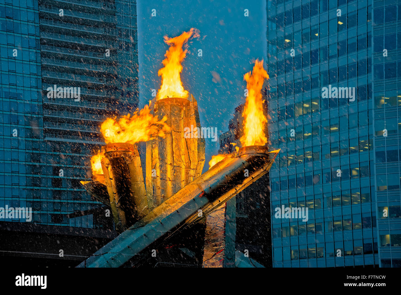 Vancouver celebrates the 2014 Olympic Hockey gold medals by lighting the 2010 Olympic flame cauldron, Vancouver, - Stock Image