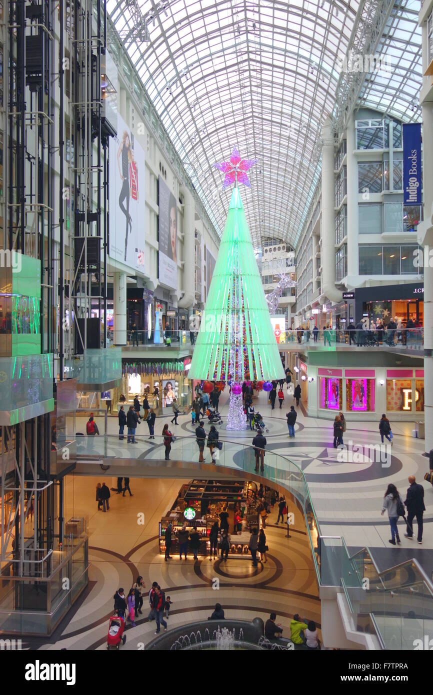 christmas decorations at the eaton centre in toronto canada