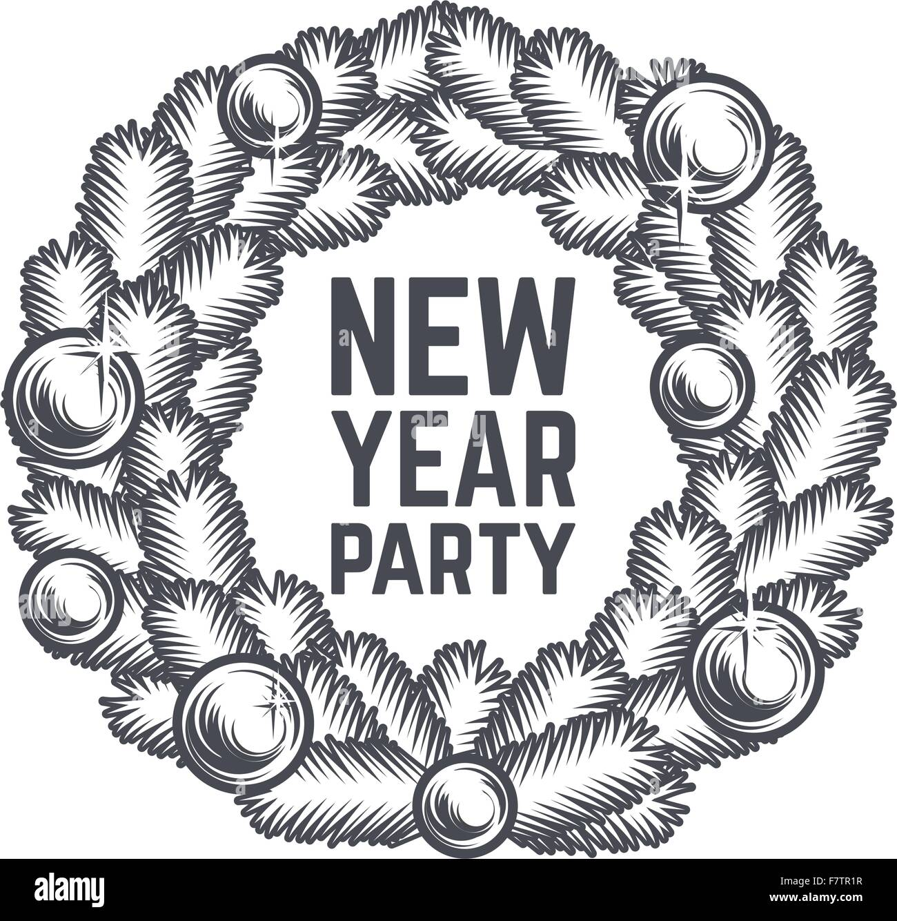 merry christmas wreath vector design vintage happy new year postcard x mas banner for party sale print december poster or badge