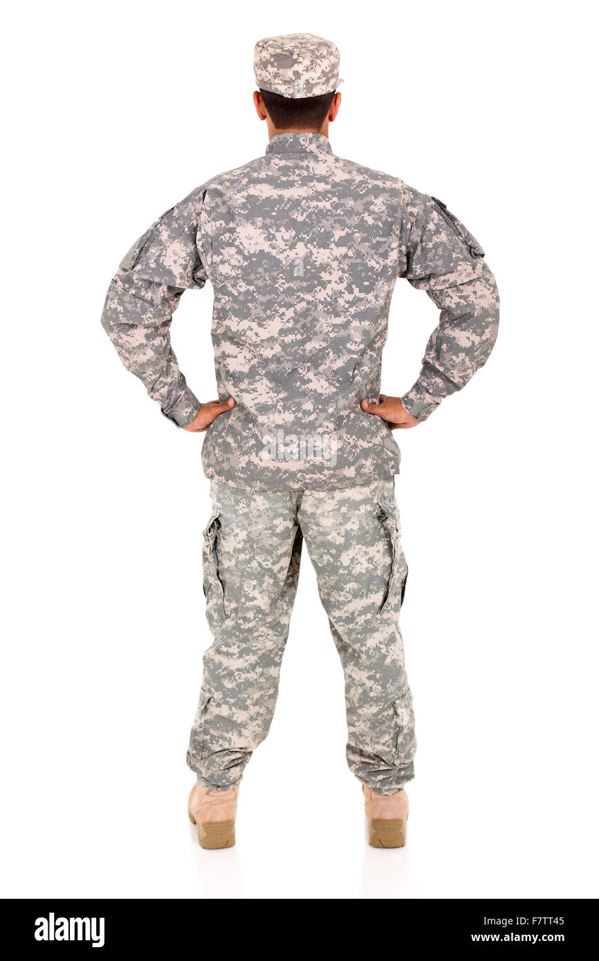 back view of military man standing on white background - Stock Image