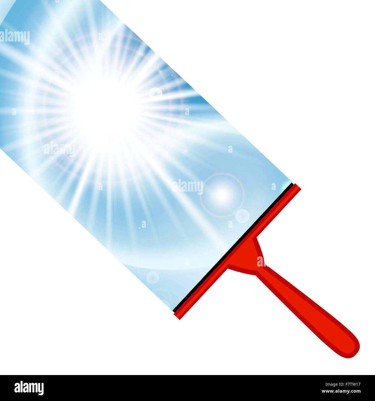 Illustration of window cleaning background with squeegee - Stock Vector