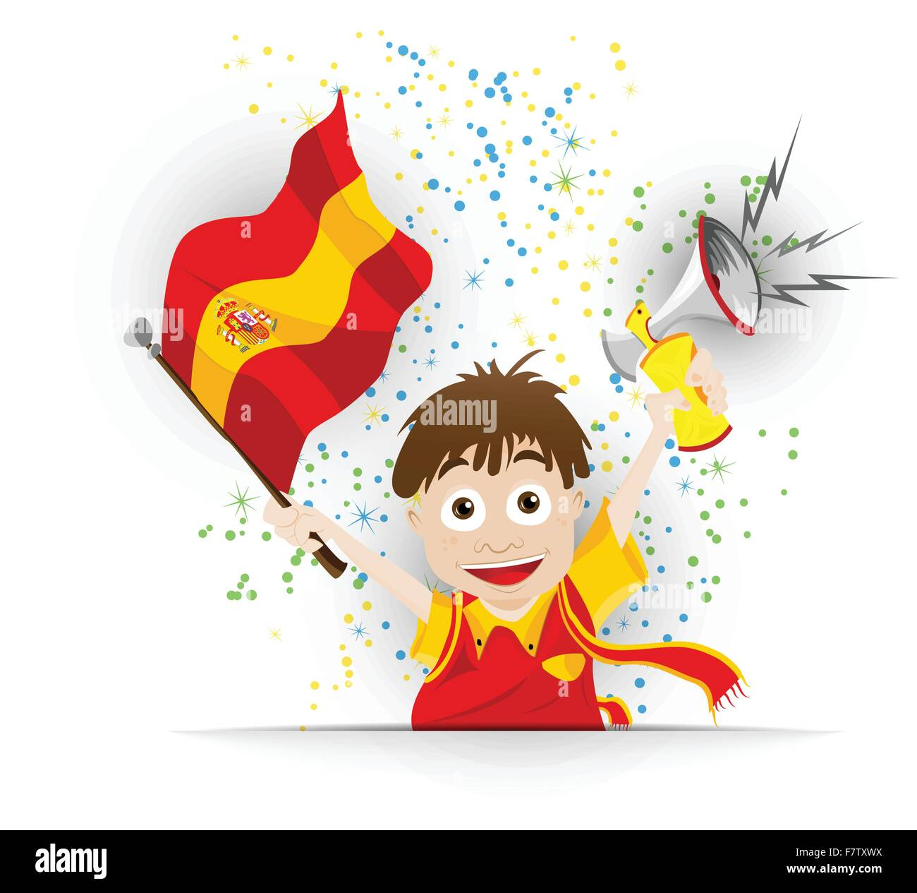 Spain Soccer Fan Flag Cartoon Stock Vector Image Art Alamy