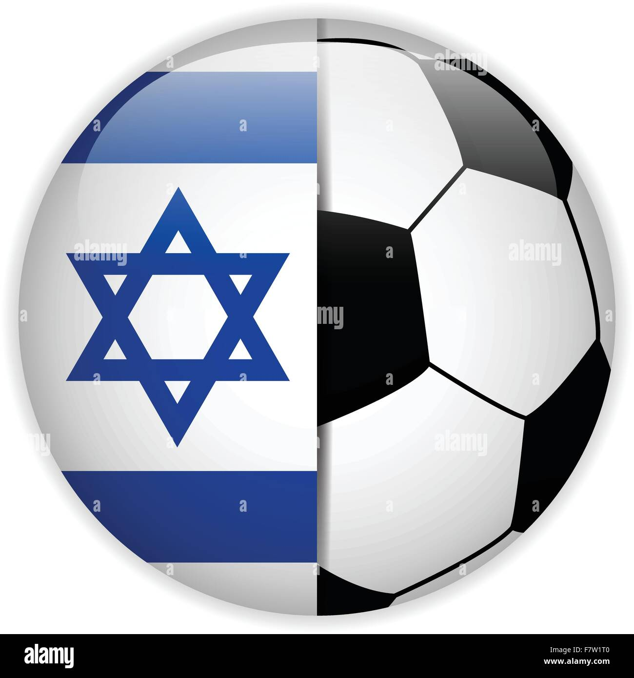 Israel Flag with Soccer Ball Background - Stock Vector