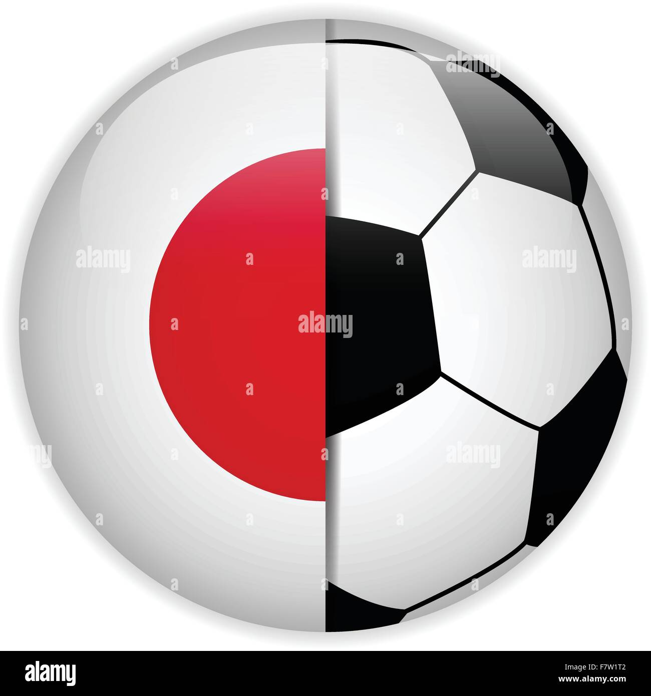 Japan Flag with Soccer Ball Background Stock Vector