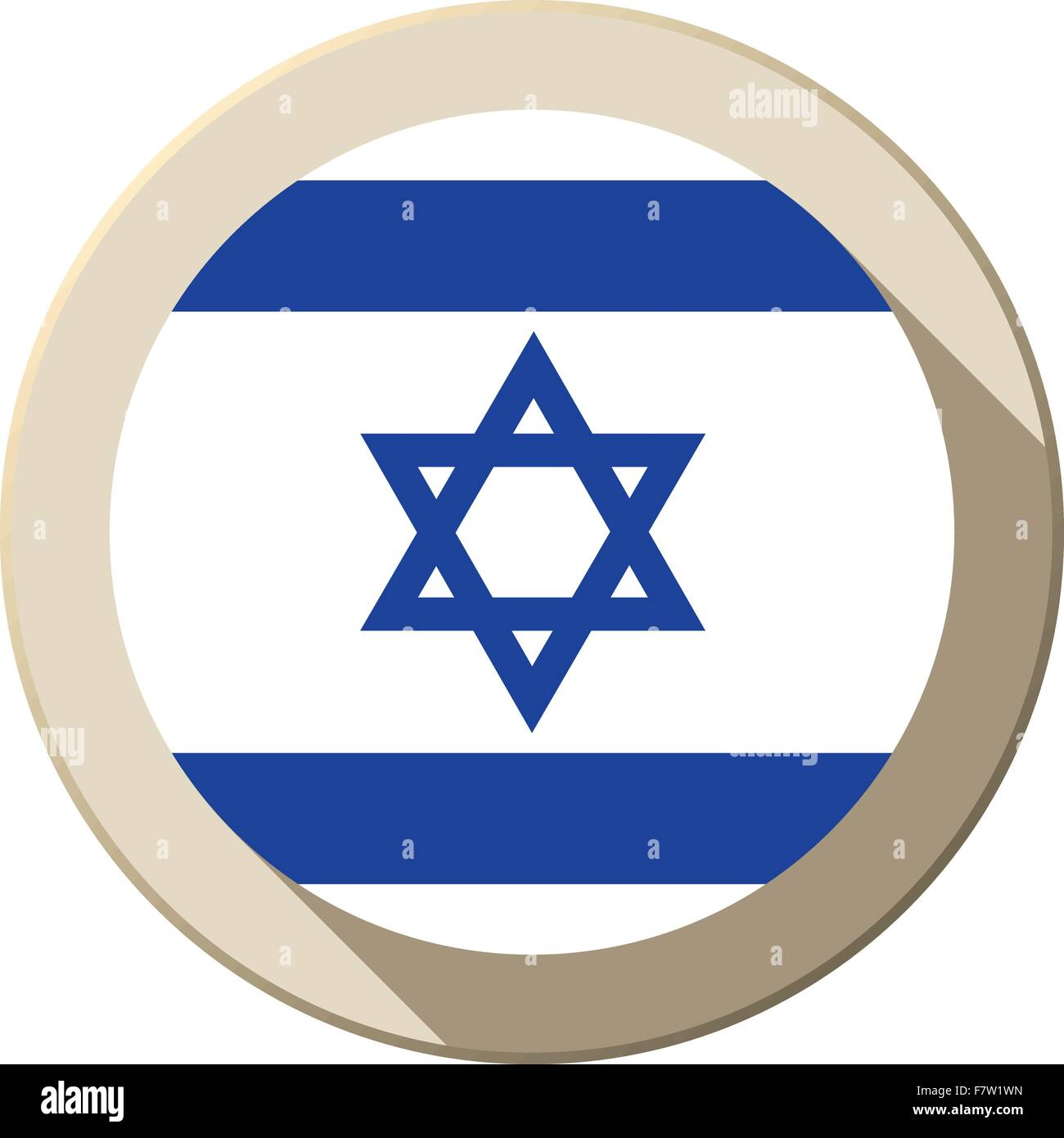 Israel Flag Button Icon Modern - Stock Vector