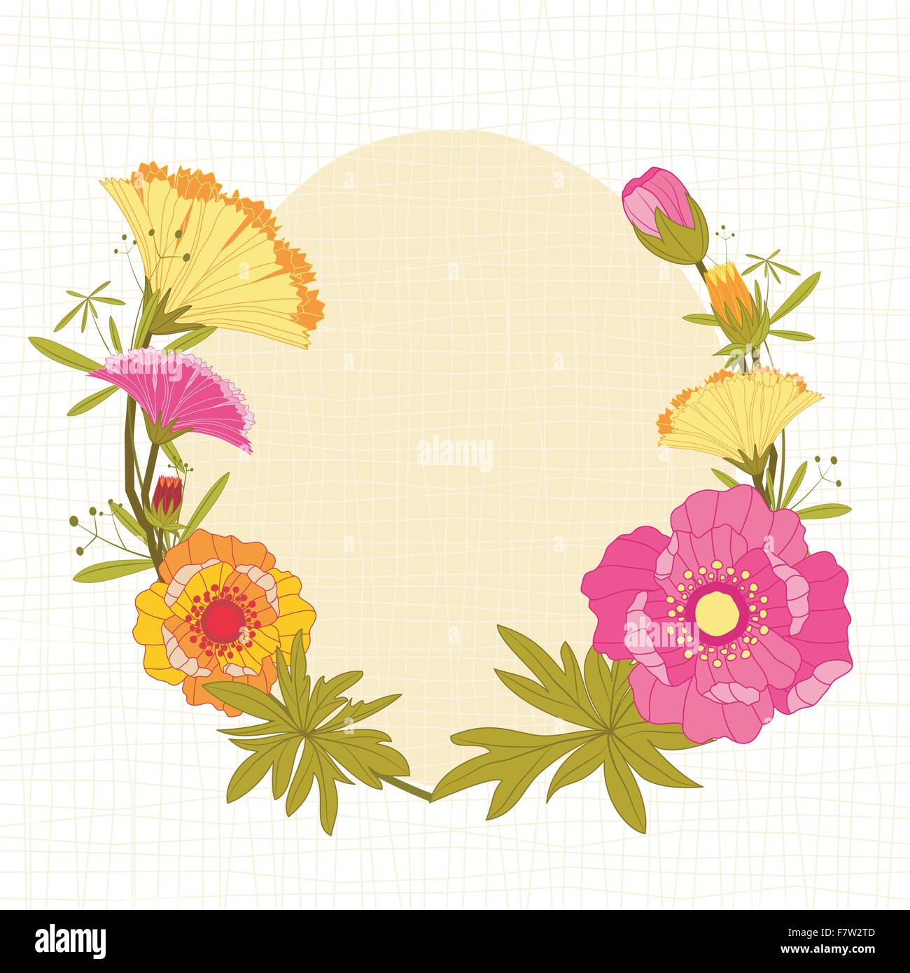 Springtime Colorful Flower Background - Stock Vector