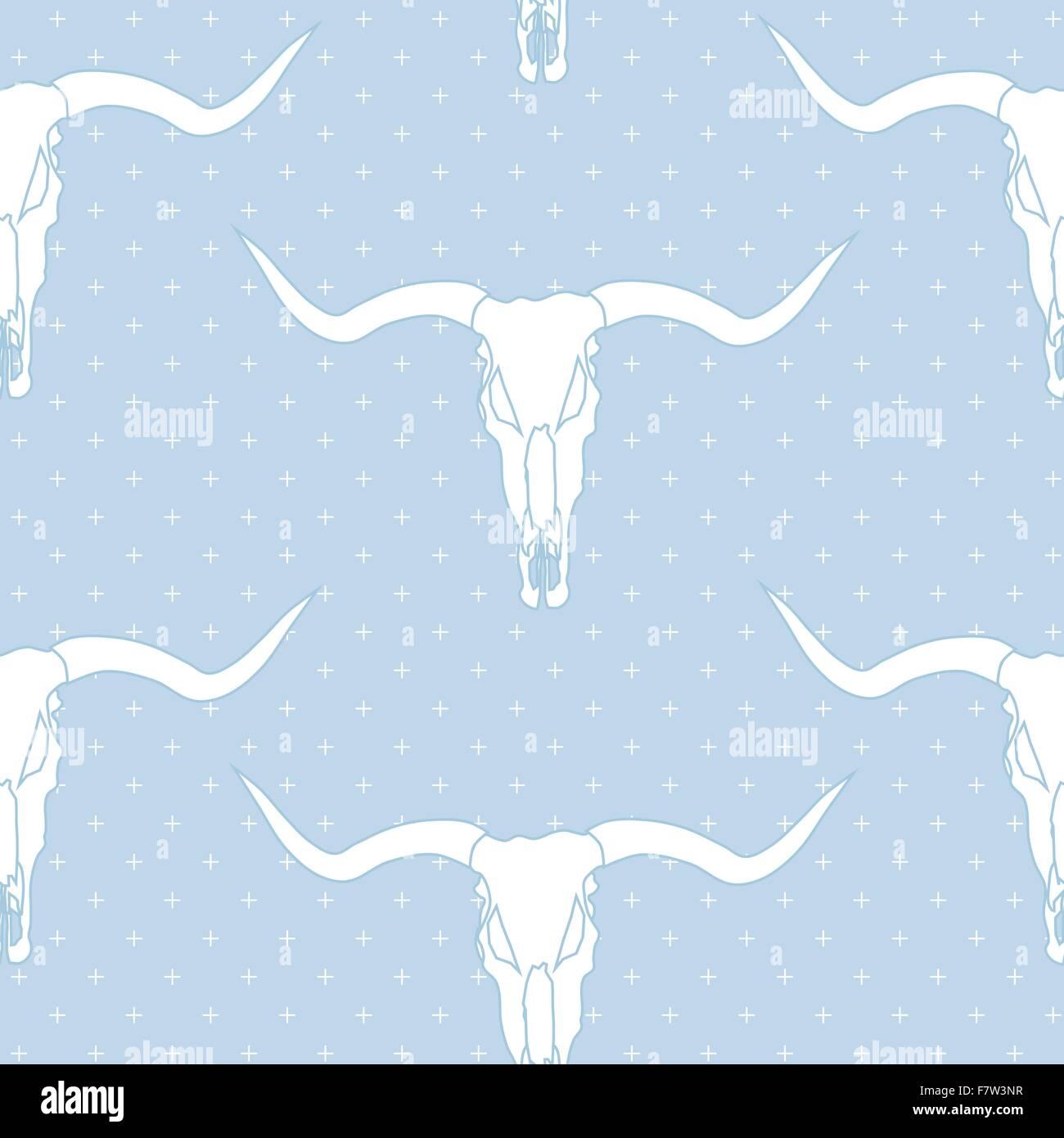 Longhorn skull, vector seamless pattern - Stock Image