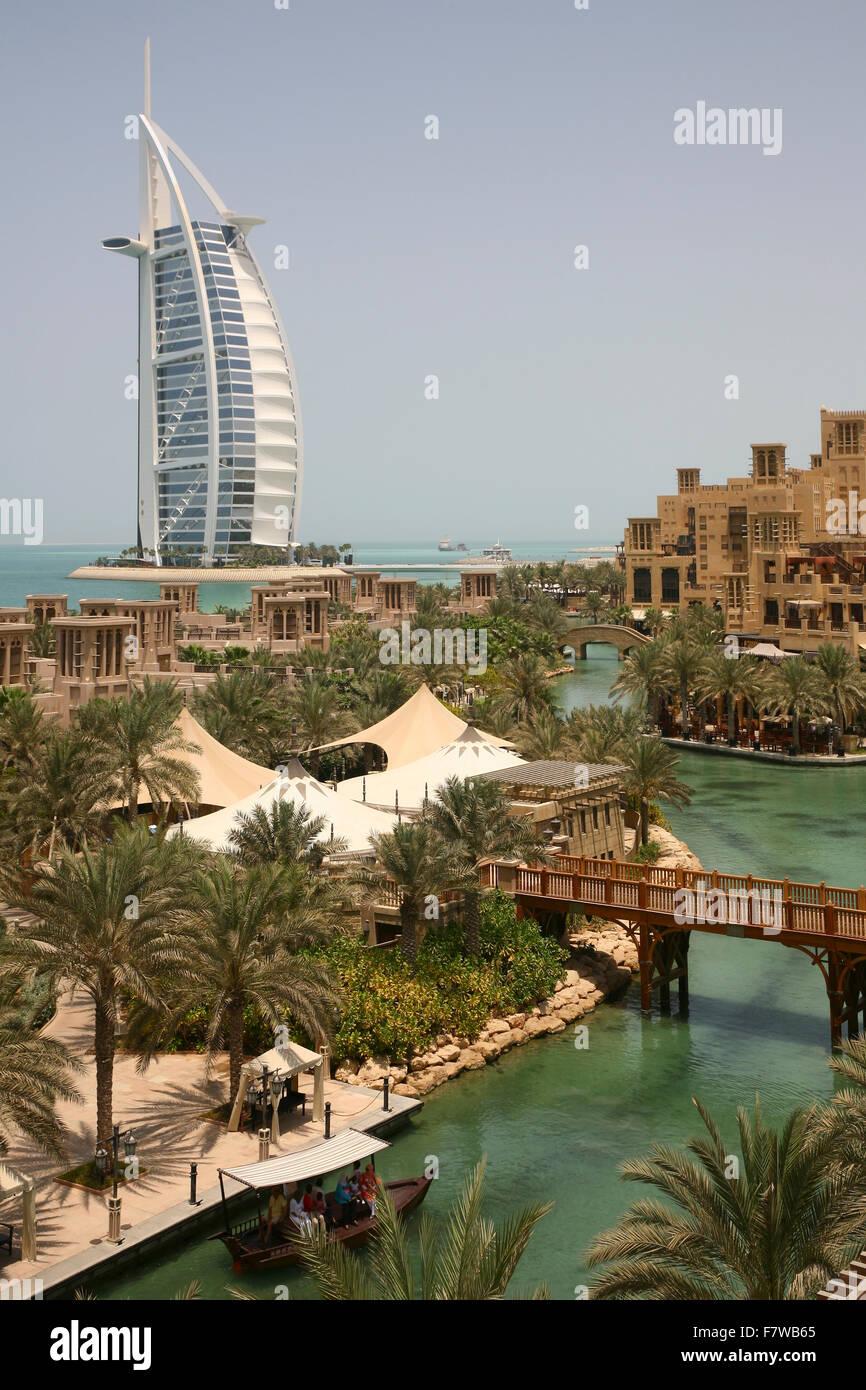 Burj al Arab Hotel with Madinat Jumeirah Resort, Dubai, United Arab Emirates - Stock Image