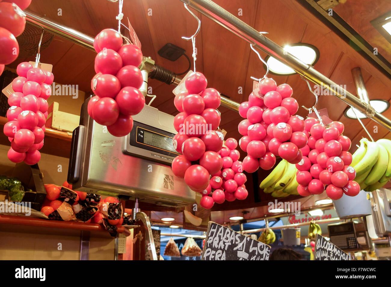 Fruit Stall in Mercat St Josep, Barcelona, Spain - Stock Image