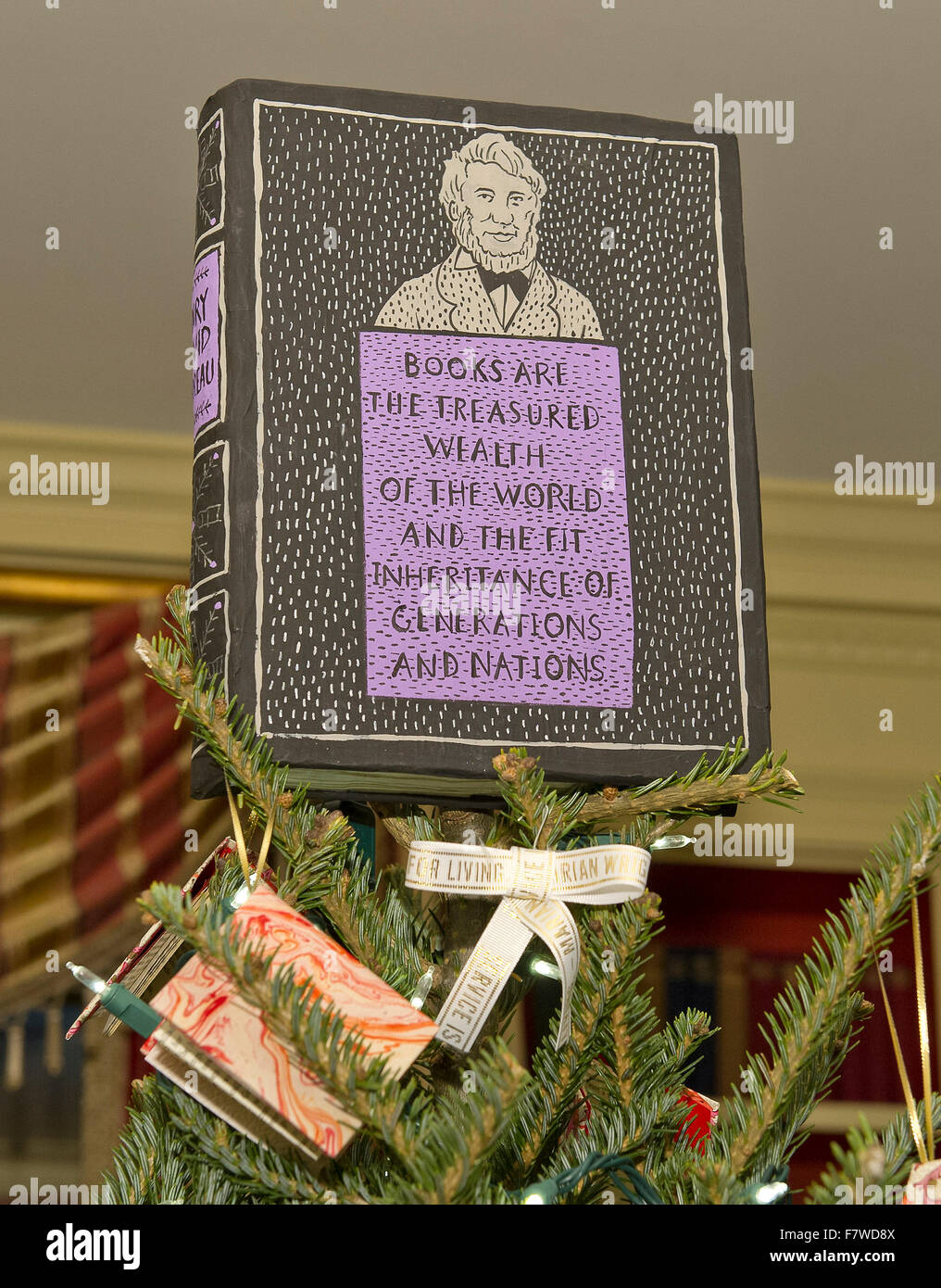 Washington DC, USA. 2nd December, 2015. Christmas trees in the Library of the White House is themed as a holiday - Stock Image