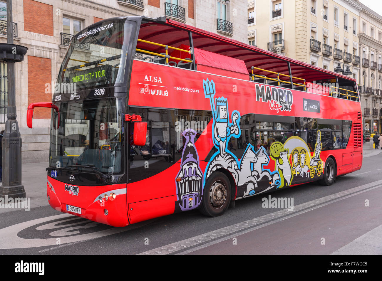 Sightseeing Bus in Madrid, Spain - Stock Image