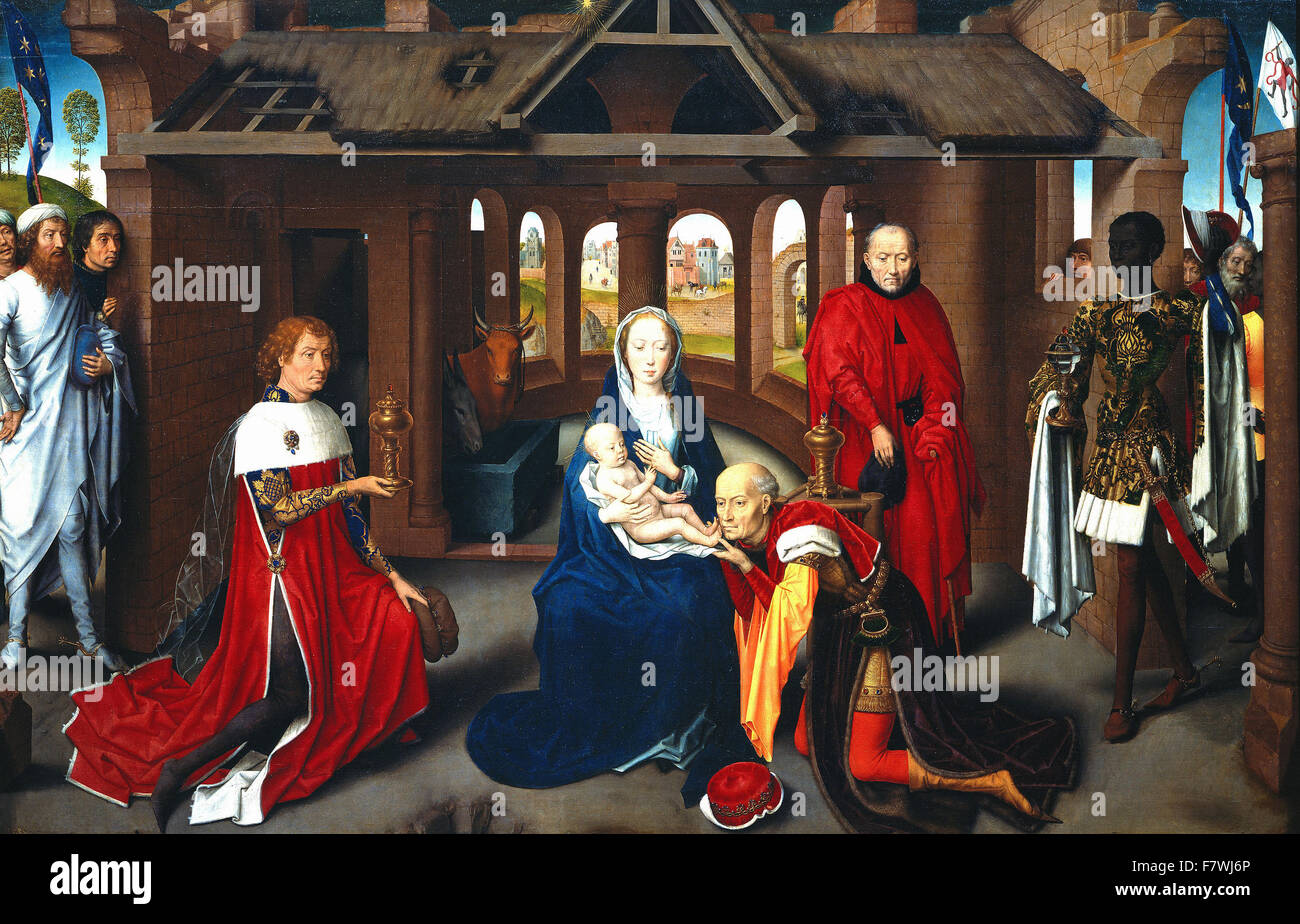Hans Memling - Adoration of the Wise Men, central part of the triptych -  Prado Museum Madrid - Stock Image
