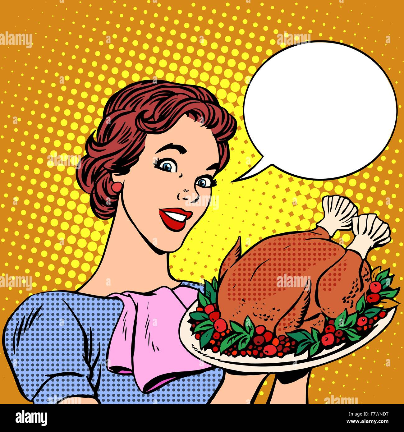 Woman with a Christmas Turkey thanksgiving - Stock Vector