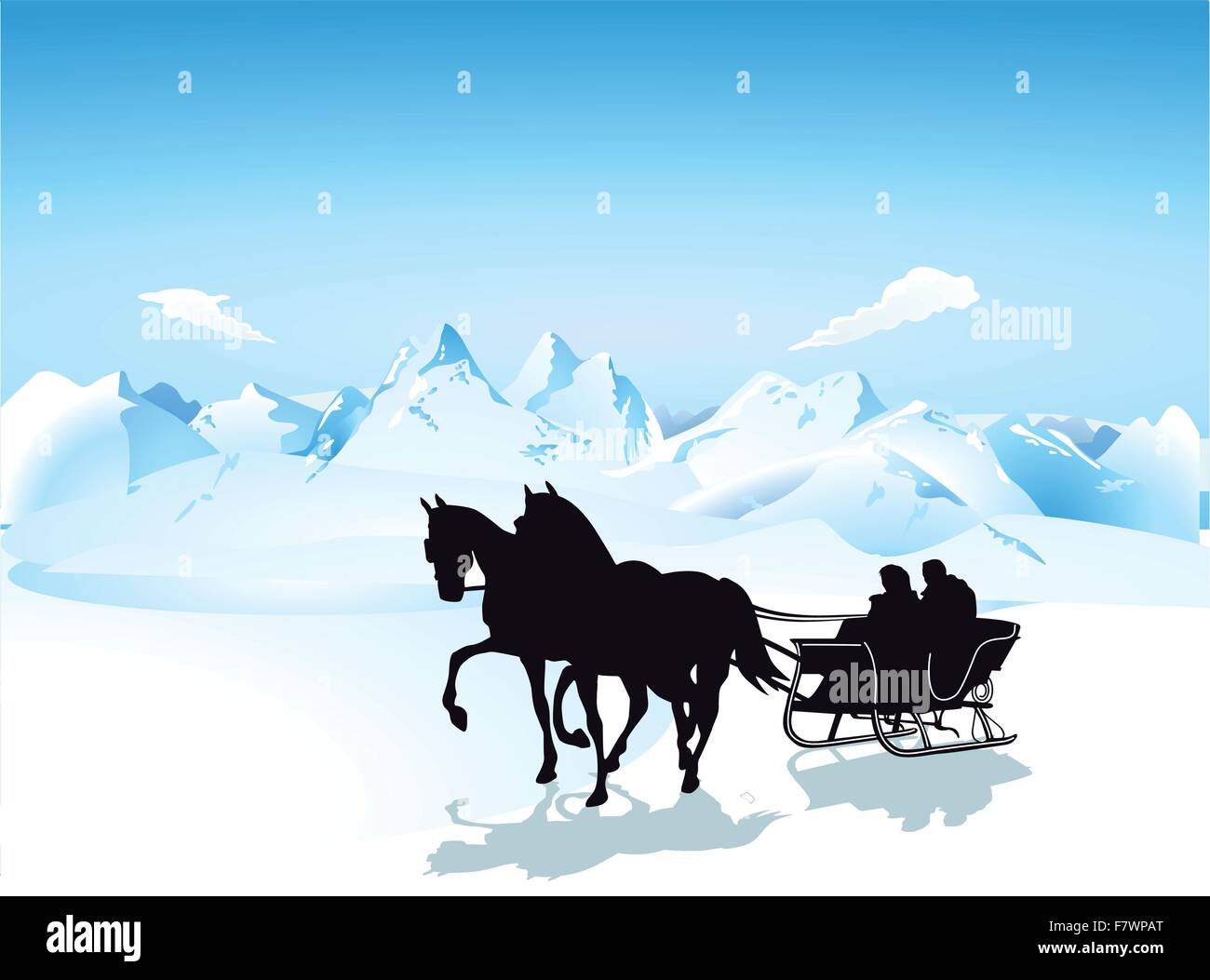Sleigh in the mountains - Stock Image