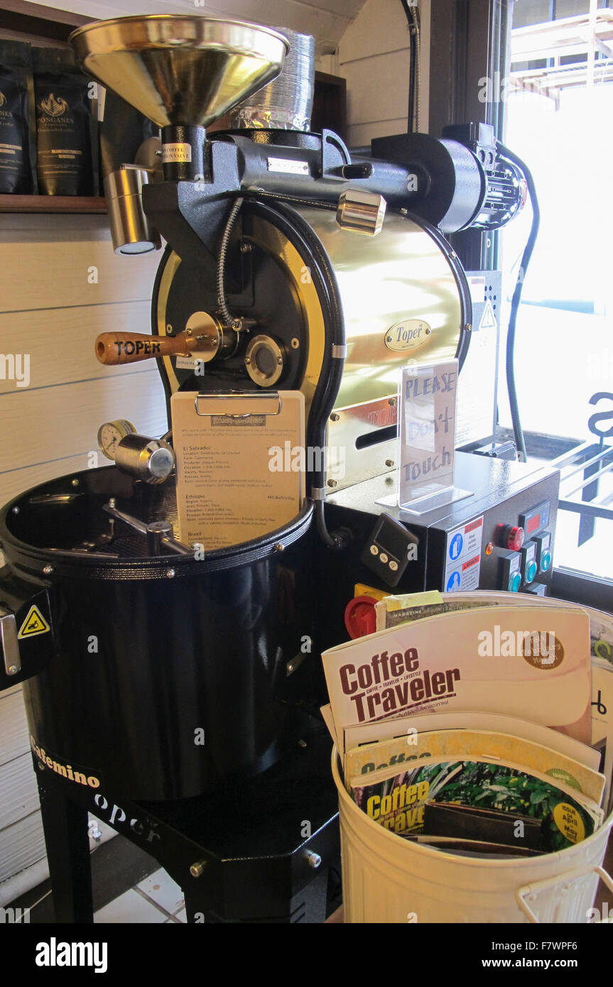 Coffee Roaster Displayed in Ponganes Café, Chiang Mai, Thailand - Stock Image