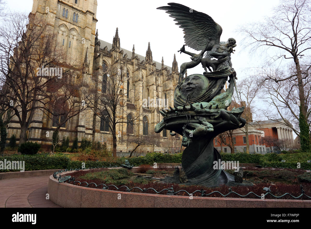 Peace Fountain at the Cathedral of St. John the Divine, NYC Stock Photo