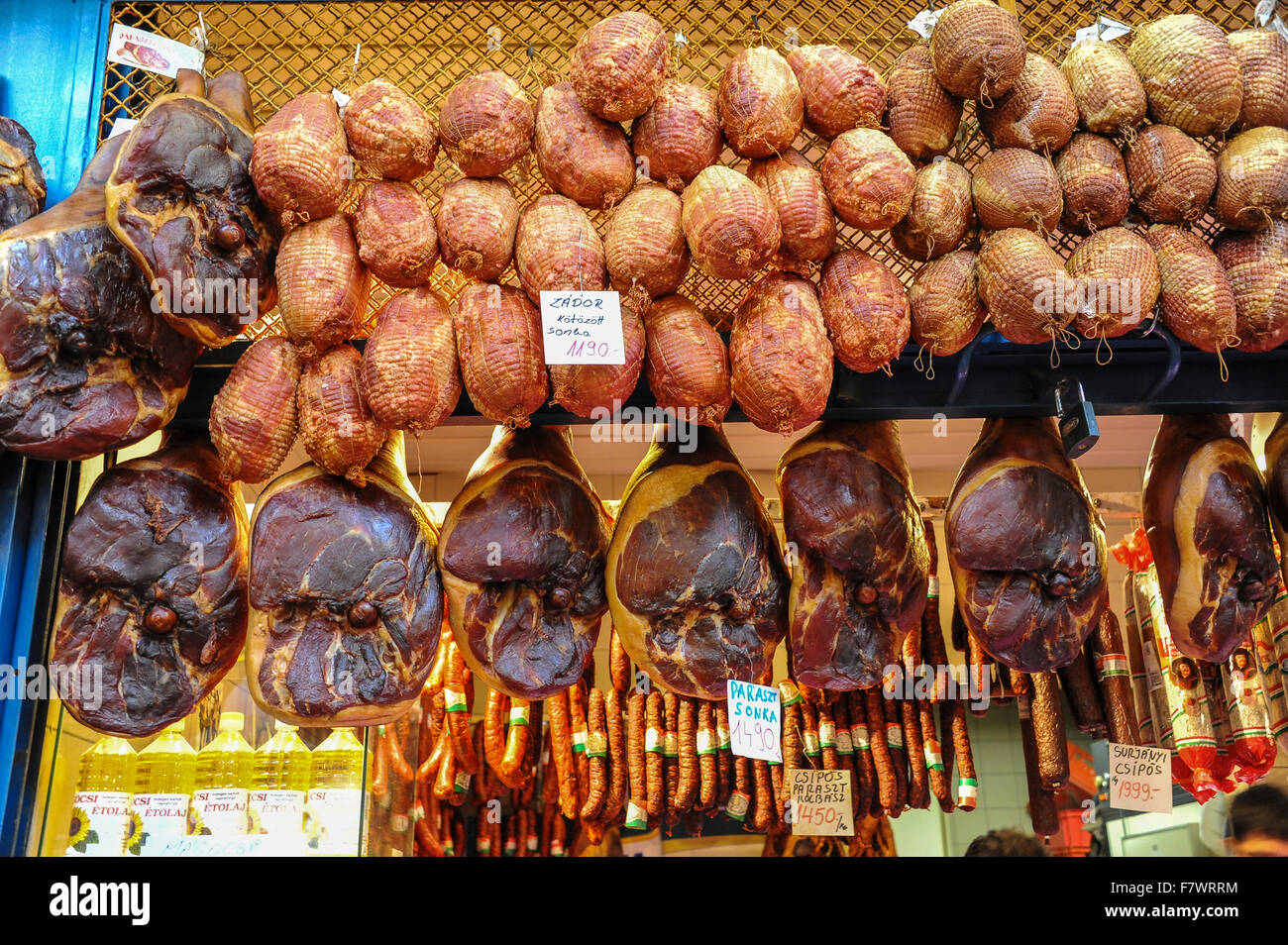 Cured Meat in Vacuum Package, Budapest, Hungary - Stock Image
